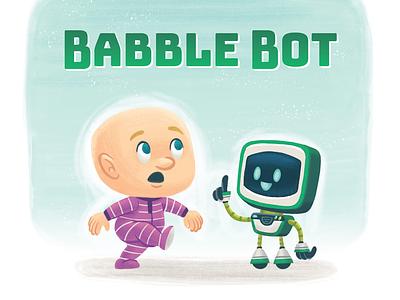 Babble Bot typography kids book childrens book picture book kidlitart kidlit robot baby illustration kids children