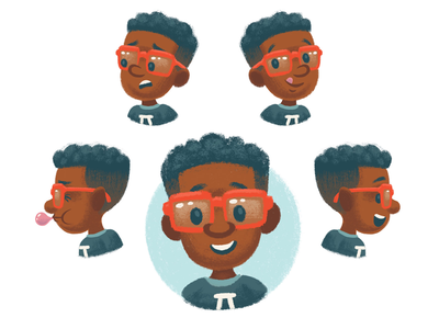 Miles glasses boy character development character design character children kids illustration