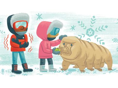 Freezing Antarctica kidlitart kidlit tardigrade science book picture book children kids illustration