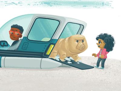 Jumbo-sized vehicle ship tardigrade book picture book kidlitart kidlit children kids illustration