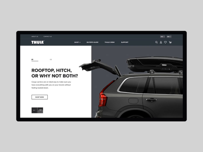 Redesign main screen Thule e-commerce homepage design mainscreen gsndesign thule minimal web website flat animation ux ui design e-commerce