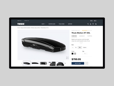 Redesign product page Thule e-commerce website web ui ux thule minimal gsndesign e-commerce design animation