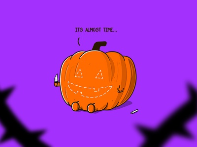 Its Almost Time carving knife purple horror art horror movie horror movies horror scary pumpkin pie october creepy spooky halloween design halloween party halloween pumpkin inktober inktober2019