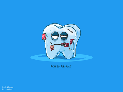 Pain is Pleasure branding concept art character artwork blue pain tooth paste teeth tooth sugar adobe illustrator illustration character design logo design logo design coca cola coke
