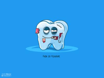 Pain is Pleasure branding concept art character artwork blue pain tooth paste teeth tooth sugar adobe illustrator illustration character design logo design logo design coca cola coke