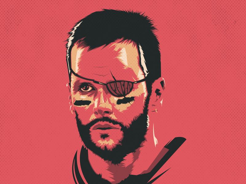 Tom Brady portrait nfl football pirate vector illustration illustrator design buccaneer patriot tom brady