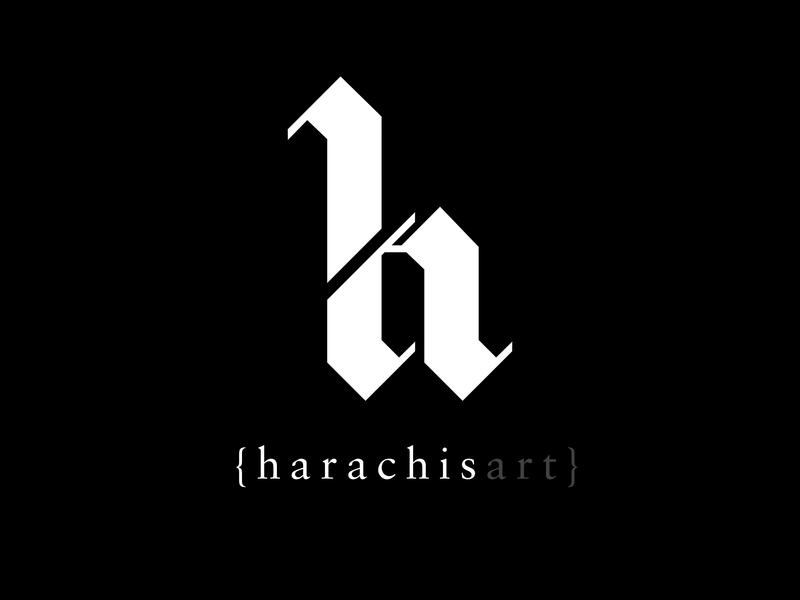 Harachisart Logo personal branding design branding typography vector blackletter logo harachisart