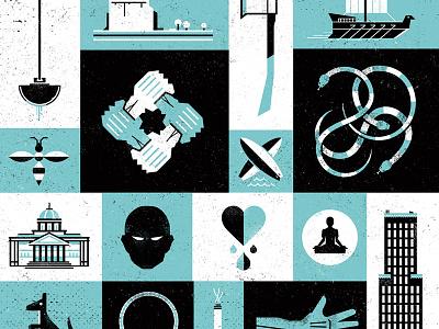 Icon Narrative design illustration icon texture bookcover logo story snake building boat landscape