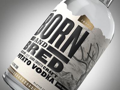 Born and Bred Vodka vodka emboss liquor alcohol woodblock woodcut illustration design