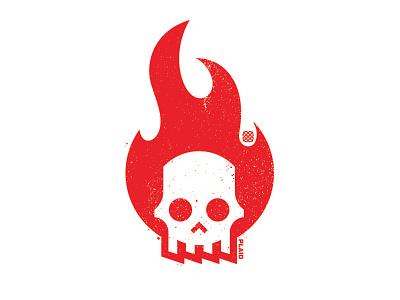Hack Week white red fire flame hack skull icon illustration design