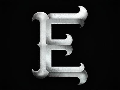 Big E white black typography dimension illustration letter design