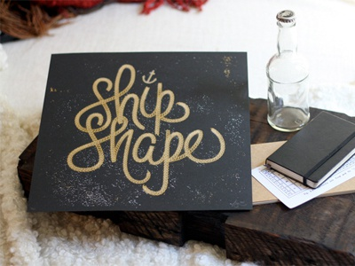Shipshape Output texture white black illustration design grey greyscale script type gold screenprint printmaking