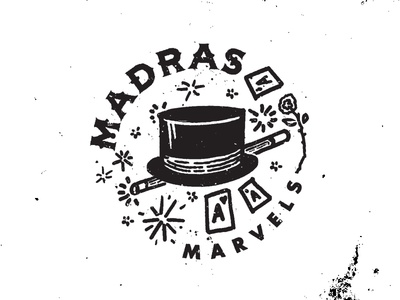Ya Mahvelous Mahvels! Maaaahvelous! magician magic white black typography old timey seal illustration letter design