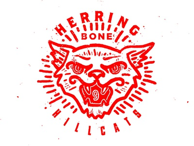 Herringbone Hillcats panther bobcat cat white red typography old timey seal illustration letter design