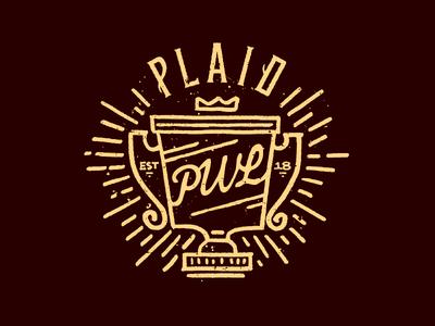 Plaid World League league trophy typography old timey seal illustration letter design