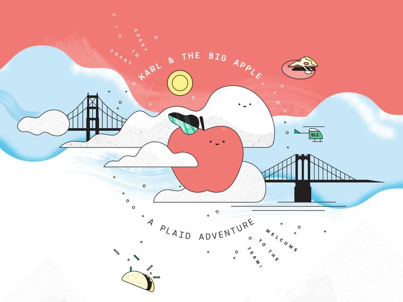 Karl and the Big Apple salt lake city brooklyn golden gate bridge clouds pizza taco san francisco new york illustration
