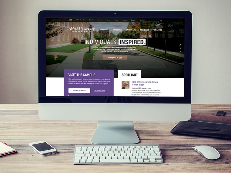 Alfred University redesign college university website education alfred university