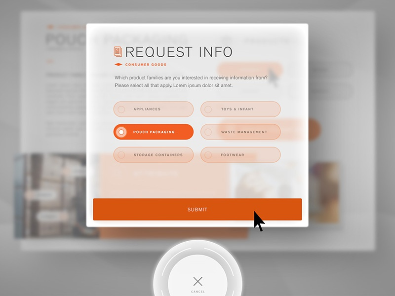 Touch-screen UI touch screen user interface kiosk ui futuristic orange