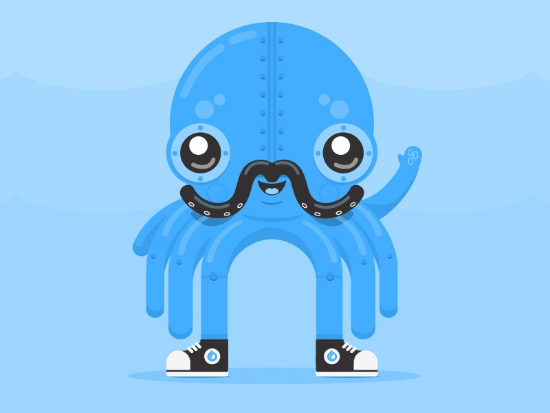 Punk the Robot Octopus genuine interactive mascot character steampunk mustache cute cartoon octopus illustration