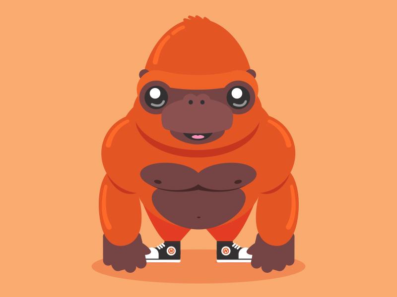 Golden Monkey orange cute cartoon illustration gorilla monkey