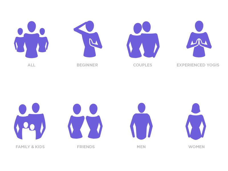 Demographic icons fitness health yoga people female form form demographics icons