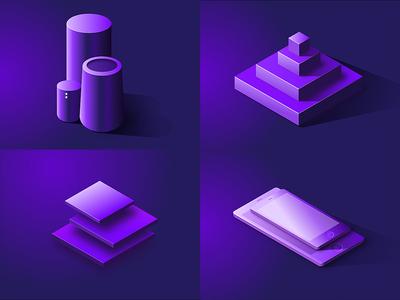 4 Up Isometric illustrations