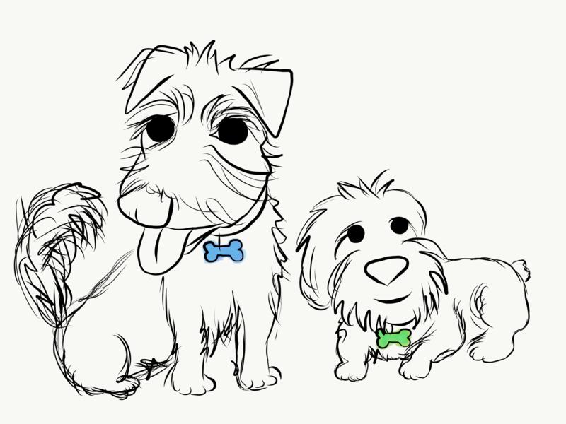 rocket&rhodey lineart sketch dogs