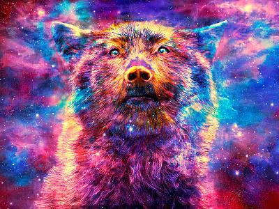 Lupus Descending mixedmedia brush digitalart cosmic trippy vibrant colorful psychedelic animal
