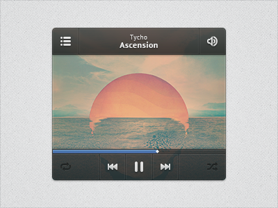Player Widget player psddd playback widget music window play album artwork cover song audio 15px icons controls media black blue freebie psd matte smooth tycho