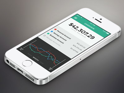 Banking App – Overview ios iphone banking app ui bank interface flat money retina overview teal