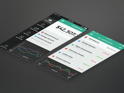 Banking App – Menu & Transactions ios iphone banking app ui bank interface flat money retina menu transaction