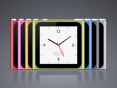 iPod nano – Colors & Clock replica interface clock device music buttons button black blue green orange pink red silver chromatic bowtie apple nano ipod rebound