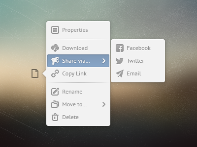 File Popover file popover popout menu modal milk white list icons batch blue cloud folder flyout options settings document 16px manager pt sans psd freebie