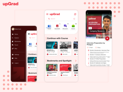 upGrad learn app concept design