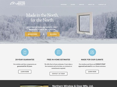 Northern Window & Door / Home Page web website responsive winter gray blue