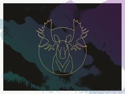 Moose. moose antlers line drawing gold purple teal dark