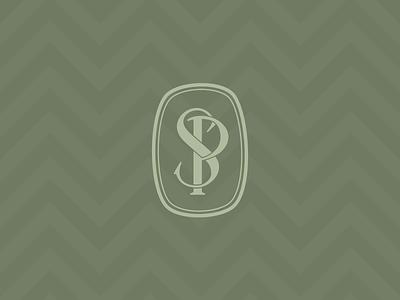 P & S Monogram p s wip monogram green lozenge chevron pattern