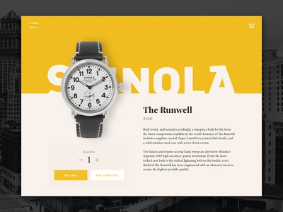 Daily UI #12 – Single Product v1 shinola watch cart store product single product daily ui