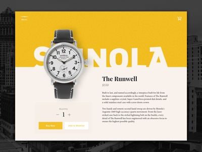 Daily UI #12 – Single Product v1 shinola watch cart store product single product daily ui