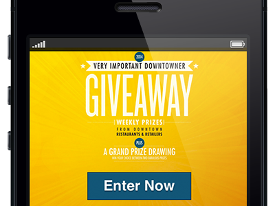 Downtown Giveaway Mobile Interface