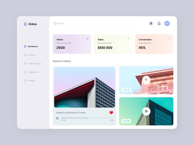 Vidoo – video management app web app design layout architecture stats integrations projects analytics conversion sales view dashboard play customize edit video interface app ux ui