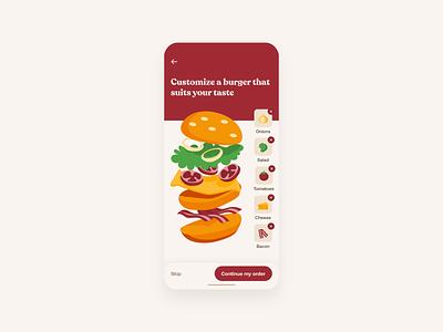 KFC - Burger Customization UI Animation design ui design branding uiux brand food ux ui animation kfc web design mobile design mobile ui mobile app design app