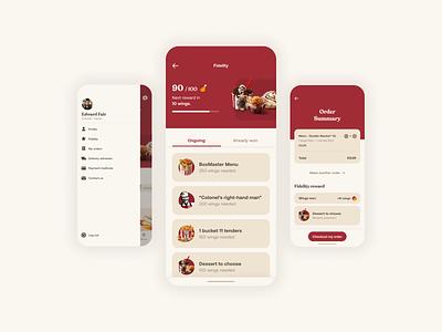 KFC - Fidelity Program UI website web fast food kfc brand branding uiux ux ui mobile mobile ui webdesign mobile design app design app food app ui design design