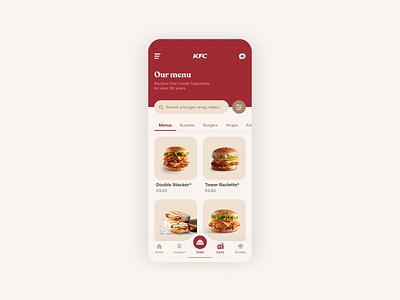 KFC - Food App UI Animation food menu brand web design branding design ui design uiux ui ux kfc food app gif animation mobile ui mobile app mobile app