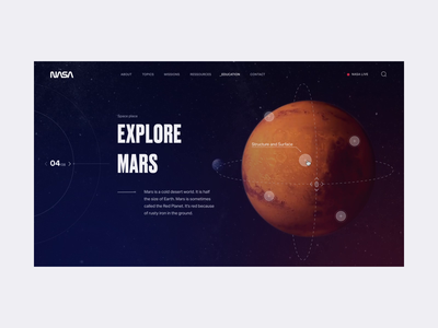 NASA - Explore Mars Animation galaxy stars earth universe animated mobile responsive space web interface planet mars nasa animation ui design uiux branding ux ui design