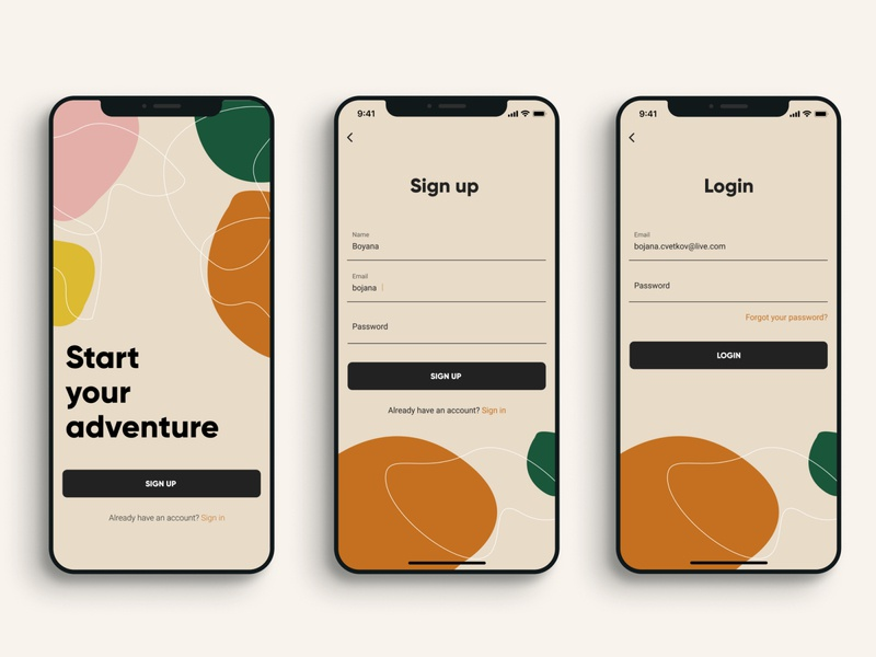 Adventures app mobile app design branding register registration form onboarding ui login form sign up signup login page mobile app mobile ui ux minimal ui design