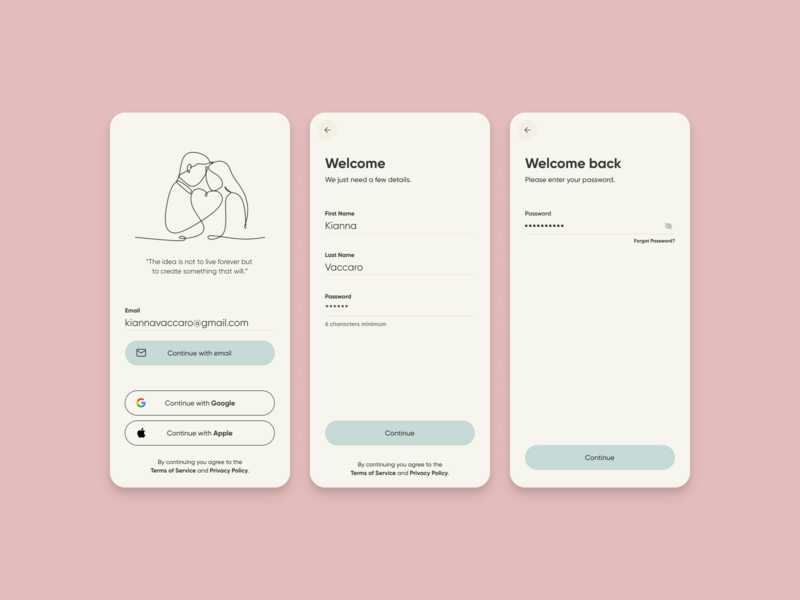 Welcome Screens ux form fields sign in mobile ui register welcome input signup login