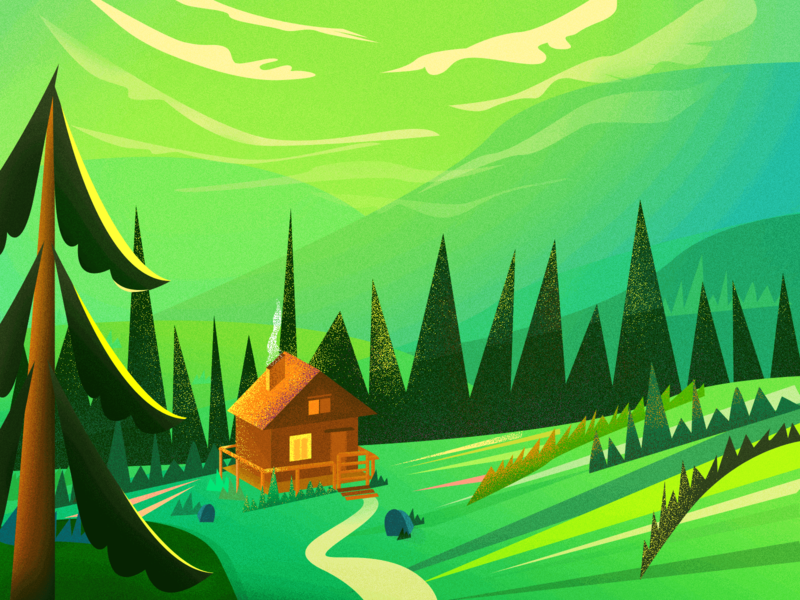 Sunset glow - cabin in the woods
