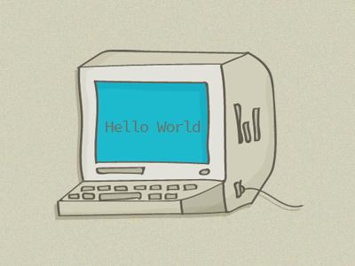Helloworld Computer drawing the80s retro illustration