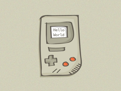 Gameboy drawing the80s retro illustration